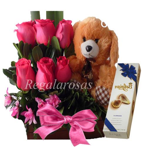 Arreglo de rosas rosadas de cumpleaños a domicilio en santiago