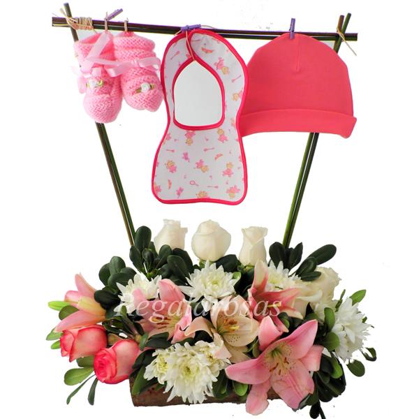 arreglo floral recien nacido niña a domicilio en santiago