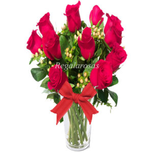 Florero Rosas Rojas cinta roja a domicilio en santiago
