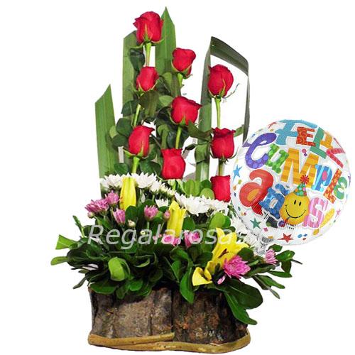 Regala Arreglo Florar Rosas Rojas Maules Liliums De Cumpleaños A Domicilio