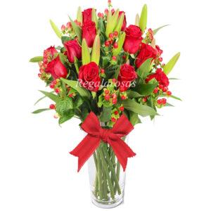 Florero Rosas Rojas Liliums Rojos a domicilio en santiago