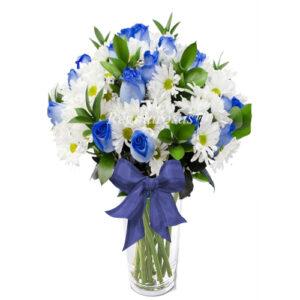 Florero Rosas Azules Maules Blancos a domicilio en santiago
