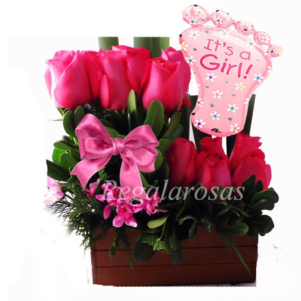06 Regala Arreglo De Rosas Rosadas Con Globo Recien Nacido