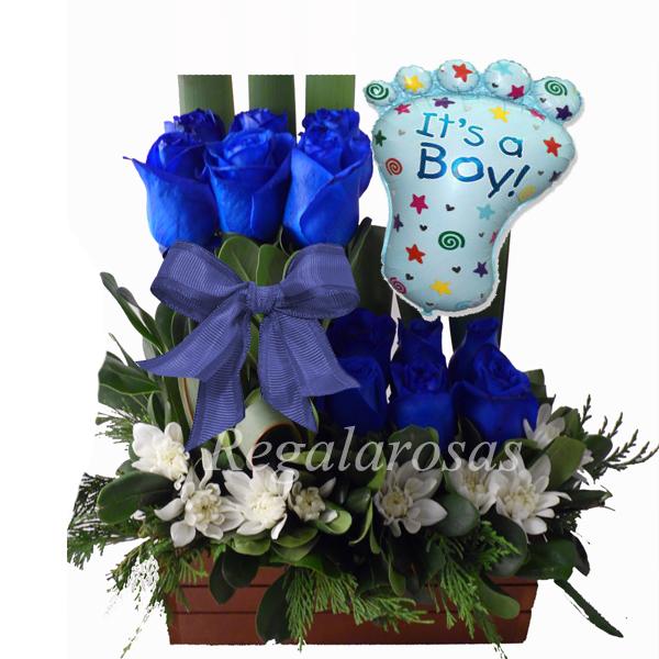 06 Arreglo De Rosas Azules Recien Nacido