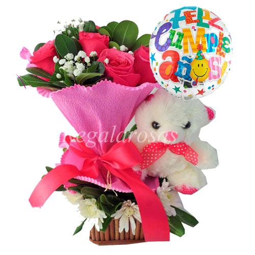 rosas rosadas maules peluche y globo de cumpleaños a domicilio en santiago