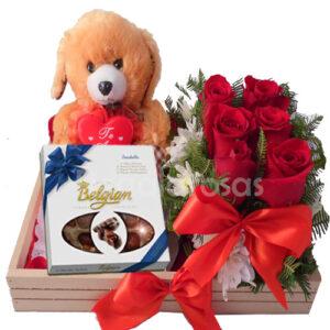 Regala Rosas rojas con osos a domicilio en santiago