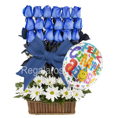 Rosas azules ecuatorianas maules cumpleaños a domicilio en Santiago