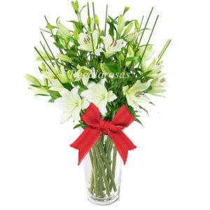 Florero Liliums blancos a domicilio en santiago