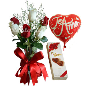 Rosas rojas y blancas a domicilio en santiago