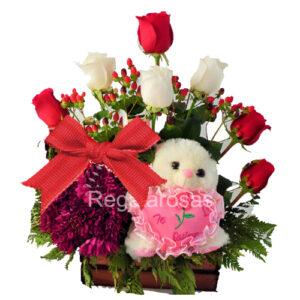 Rosas Rojas y Oso de Peluche a domicilio en santiago