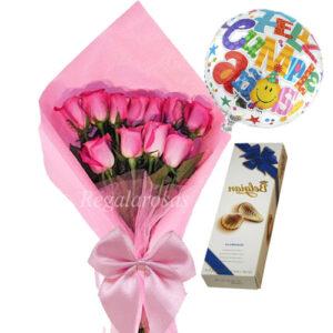 Rosas rosadas globo y chocolate de cumpleaños a domicilio en santiago