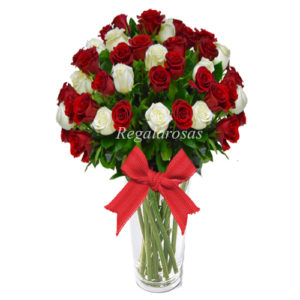 Florero Rosas Rojas y Blancas a domicilio en santiago