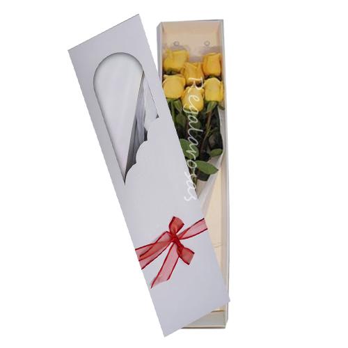 Caja con 6 rosas amarillas a domicilio en santiago