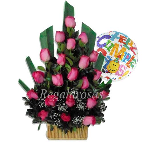 Arreglo De 25 Rosas Rojas En Base Madera Y Globo De Cumpleaños
