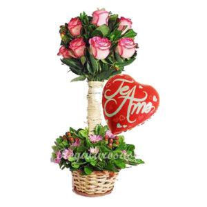 Rosas Lindas y Globo de Amor a domicilio en santiago