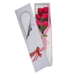 Caja con 6 rosas rosadas a domicilio en santiago