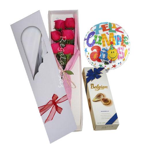 6 rosas ecuatorianas chocolate y globo cumpleaños a domicilio en santiago
