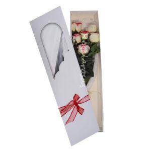 Caja con 6 rosas bicolor a domicilio en santiago