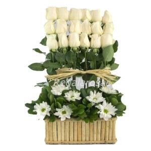Arreglo con 18 Rosas blancas maules a domicilio en santiago