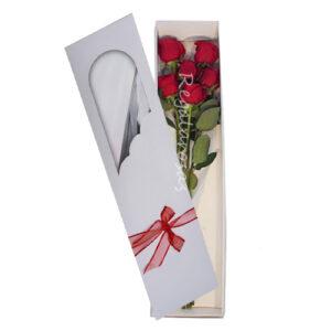 Caja con 6 rosas rojas a domicilio en santiago