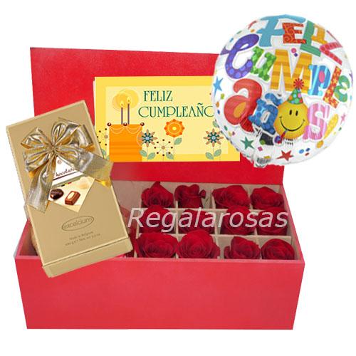 Caja roja con 12 rosas rojas ecuatorianascumpleaños a domicilio en santiago