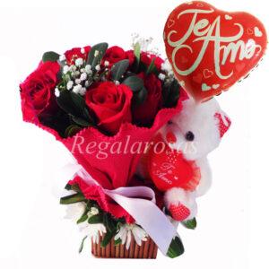 Ramo de Rosas y Maules con Peluche Amor Regala Rosas a domicilio en santiago