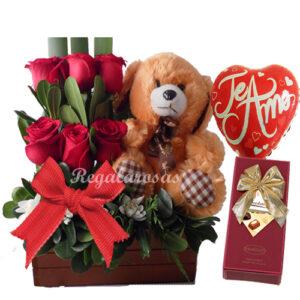 Arreglo de Rosas Rojas y oso Amor Regala Rosas a domicilio en santiago