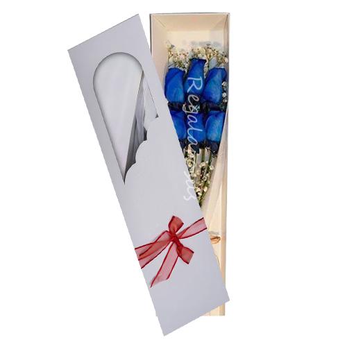 caja con 6 rosas azules a domicilio en santiago