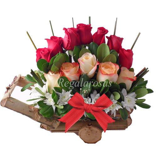 Carreta Rustica Con Rosas Amor Regala Rosas a domicilio en santiago