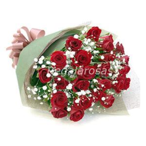 Ramo circular con 25 rosas rojas cumpleaños a domicilio en santiago