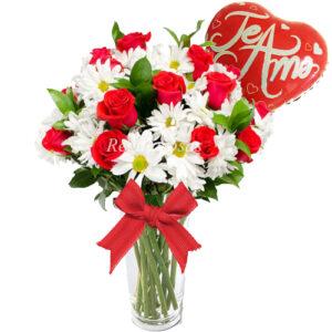 Florero de Rosas Rojas con Maules Blancos Amor Regala Rosas a domicilio en santiago