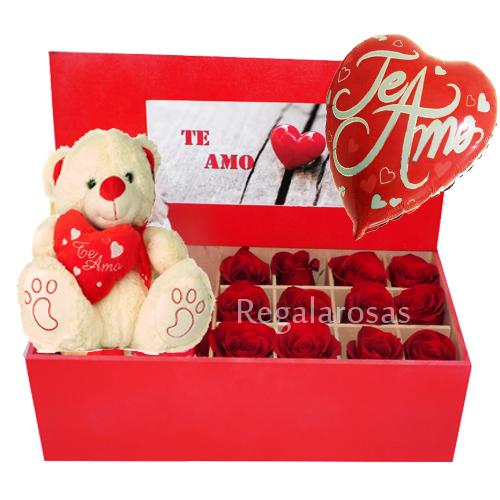 Caja Pintada de Rosas Rojas con Peluche Amor Regala Rosas a domicilio en santiago
