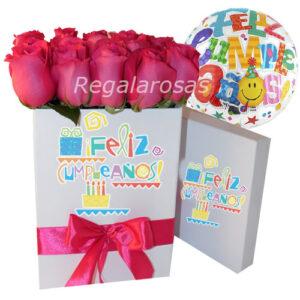Caja con 24 rosas rosadas y globocumpleaños a domicilio en santiago