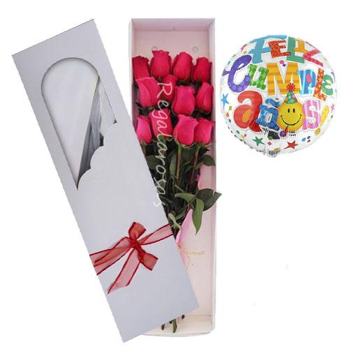 12 rosas rosadas ecuatorianas y globo para cumpleaños a domicilio en santiago
