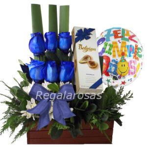Arreglo de rosas azules maules chocolatecumpleaños a domicilio en santiago