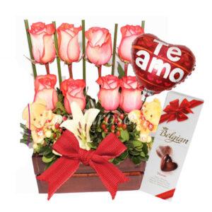 Arreglo de Rosas con Osos y Chocolate Amor a domicilio en santiago