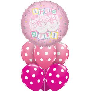 Bouquet de globos Aire nacimiento niña a domicilio en santiago