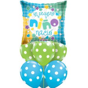 Bouquet de globos Aire nacimiento niño a domicilio en santiago