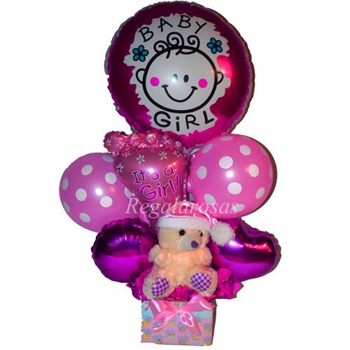 Bouquet de globos Aire nacimiento niña especial a domicilio en santiago