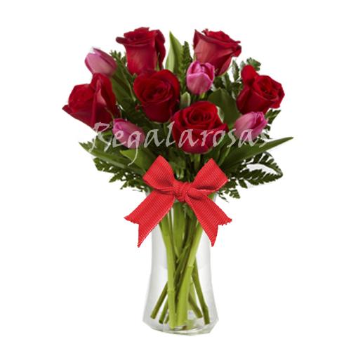 Florero de rosas Tulipanes a domicilio en santiago
