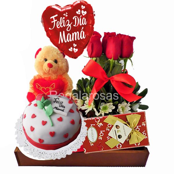 Rosas con Torta Dia de la madre