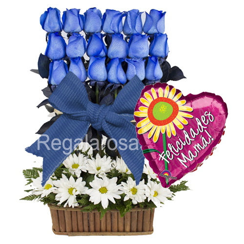 Arreglo Rosas Azules Dia a de la mama