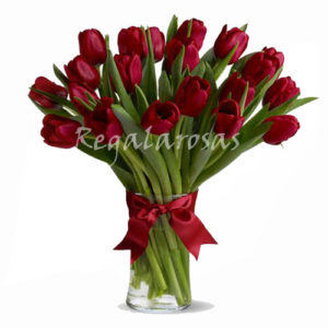Florero con 20 Tulipanes a domicilio en santiago