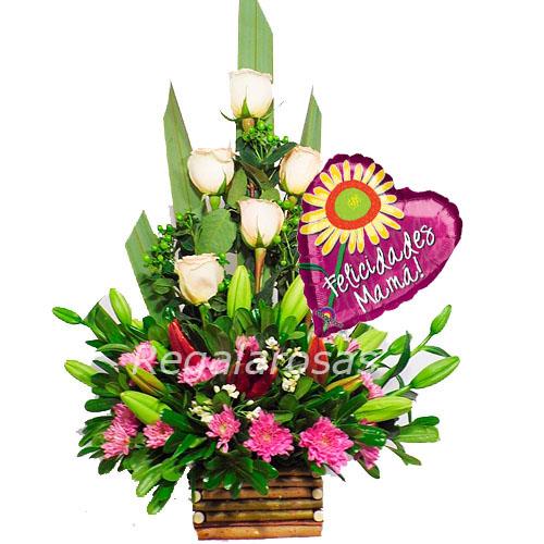 Arreglo de Rosas Felicidades mama