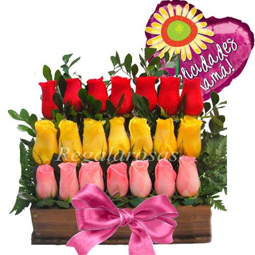 Arreglo de Rosas de Colores Feliz dia madre