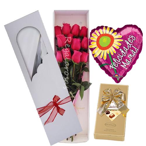 Caja con Rosas Rosadas Dia de la Madre
