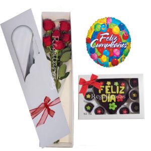 Caja de seis rosas rojas y chocolates a domicilio